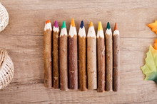 Wooden Colored Pencils In A Row
