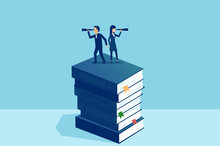 Vector Of A Man And A Woman Looking Through A Spyglass In Opposite Directions Standing On Stack Of Books