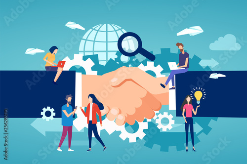 Vector of entrepreneurs and freelance community members team working on a handshake background