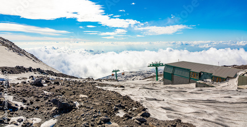 Vászonkép  Panoramic view over the clouds from Etna to Catania, Sicily, Italy