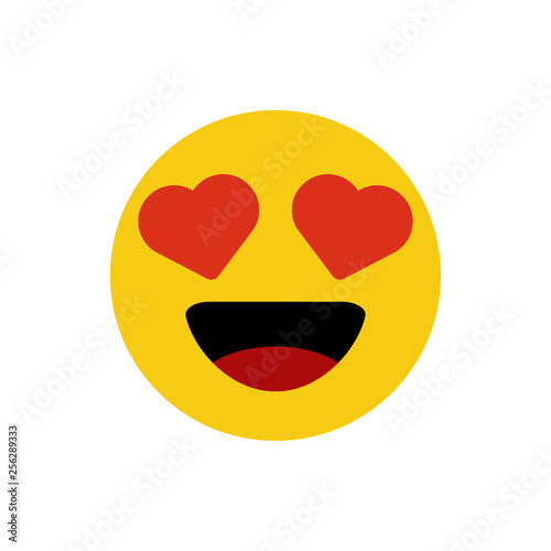 Vector Emoji yellow stupid smiley face with red heart eyes and mouth on white background Wallpaper Mural