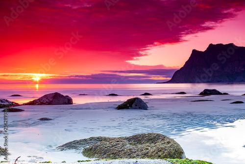 Fototapeta Różowy magiczny zachód słońca obraz