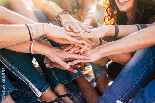 Fotografie, Obraz  Happiness and cheerful lifestyle for team concept girls putting hands together f