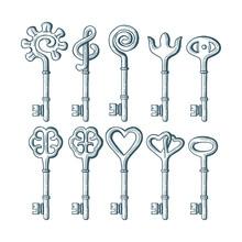 Keys. Different Vintage Keys Hand Drawn Vector Illustrations Set. Old Keys Sketch Drawing.