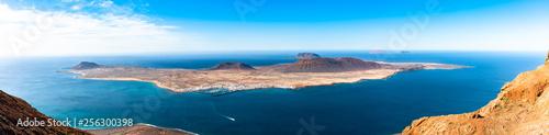 Unique panoramic magnificent aerial view of volcanic islands La Graciosa, Montana Clara, Allegranza in Atlantic ocean, from Mirador del Rio, Lanzarote, Canary Islands, Spain Obraz na płótnie