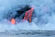 Lava Entering Ocean, Kamokuna,...