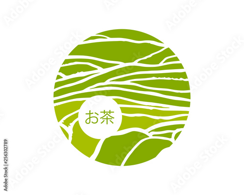 Tea plant on cascades field. Tea title on Japanese Wall mural