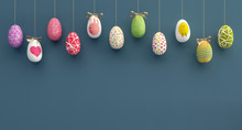 Colorfully Easter Eggs Background 3D Rendering