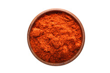 Chili Powder Spice In Wooden Bowl, Isolated On White Background. Seasoning Top View