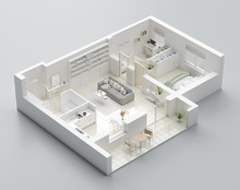3D Floor Plan Of A Home, 3D Il...