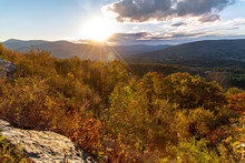 Sunset In The Berkshires Along The Mohawk Trail Close To Williamstown, Massachussetts