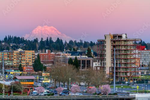 Foto auf Gartenposter Rosa hell Mount Rainier Sundown Olympia Washington
