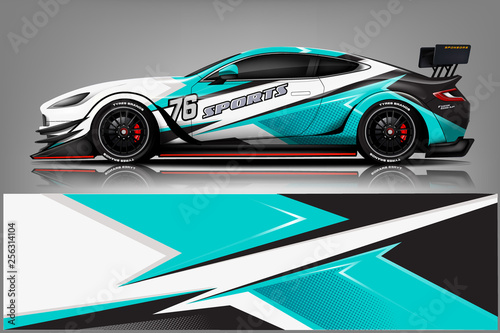 Foto sport Car decal wrap design vector