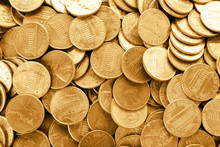 Many Shiny USA One Cent Coins As Background, Top View
