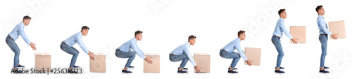 Fotografía Collage of man lifting heavy cardboard box on white background