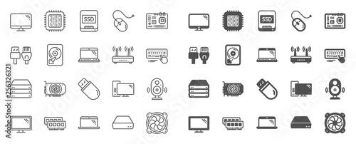 Obraz Computer components, Laptop, SSD line icons. Motherboard, CPU, Internet cables icons. Wifi router, computer monitor, Graphic card. Keyboard, SSD device. Internet cables, laptop components. Vector - fototapety do salonu