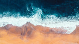 Aerial view of Waves and Beach of Great Ocean Road Australia