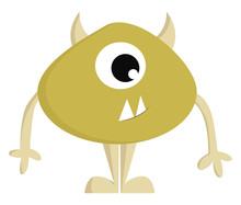 Yellow Monster With One Eye And Horns Vector Illustration On White Background