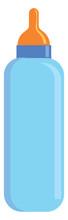 Light Blue Baby Milk Bottle With Orange Pacifier Vector Illustration On White Background