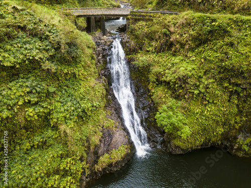 Aerial Photo from a Waterfall in the Road to Hana in Maui Hawaii