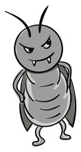Angry Gray Cockroach Illustration Color Vector On White Background