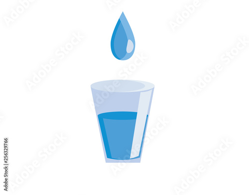 Fotografía  Glass filled with clear water vector or color illustration