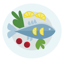 Food Platter With Whole Fish And Vegetables Vector Or Color Illustration