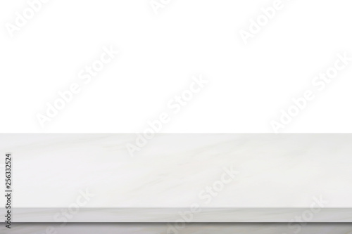 Fotografía  Empty marble table, isolated on white background, banner, table top, shelf, coun