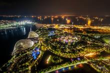 Singapore, Cityscape At Night