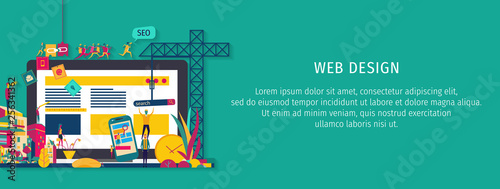 Fotografie, Obraz  Website construction - Vector design of website building process
