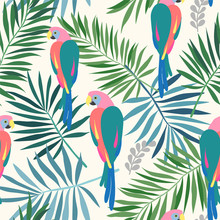 Seamless Repeat Pattern With Tropical Leaves And Colorful Ara Parrots In Sophisticated Colors