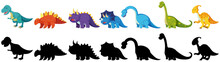 Set Of Black And Coloured Dinosaurs