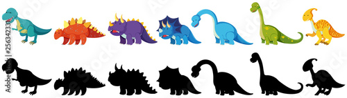 Papel de parede set of black and coloured dinosaurs