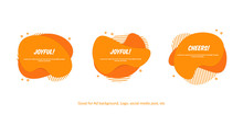 Set Of Flat Abstract Memphis Vector Banner. Modern Liquid Shapes Orange Splash. Template Design Ready For Covers, Greeting Card, Poster