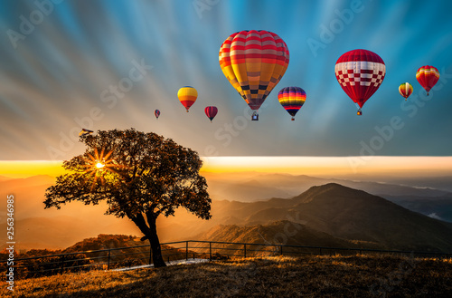 Poster Montgolfière / Dirigeable Colorful hot air balloons flying above high mountain at sunrise with beautiful sky background, Thailand.
