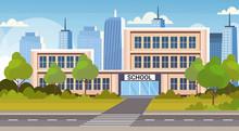 School Building Exterior Road Crosswalk Back To School Concept Cityscape Background Flat Horizontal