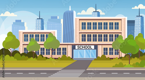 Aluminium Prints Blue school building exterior road crosswalk back to school concept cityscape background flat horizontal