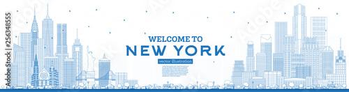 Fototapeta Outline Welcome to New York USA Skyline with Blue Buildings. obraz