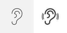Ear, Hearing Icon. Line And Gl...