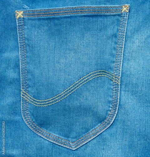 Fotografía  blue jeans back pocket texture background