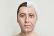 canvas print picture - young and old man's face, the concept of old age and aging skin, wrinkles on the face of men