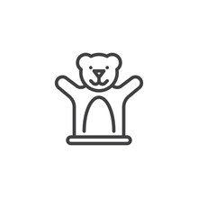 Teddy Bear Finger Toy Line Icon. Linear Style Sign For Mobile Concept And Web Design. Hand Puppet Theater Toy Outline Vector Icon. Symbol, Logo Illustration. Pixel Perfect Vector Graphics
