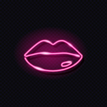 Neon Glowing Icon Of Female Pink Lips Isolated On Dark Background. Girly, Fashion, Make Up, Cosmetics, Sexy Concept. Night Neon Signboard Style. Vector 10 EPS Illustration.