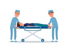 Patient On Stretcher Flat Vector Illustration