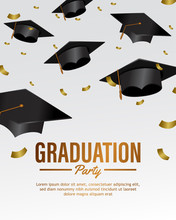 Falling Many Hat Graduation Party Celebration Invitation Template With Confetti