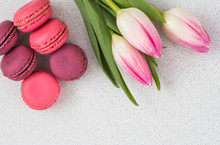 Festive Composition, Tulips And Macaroons On The Table