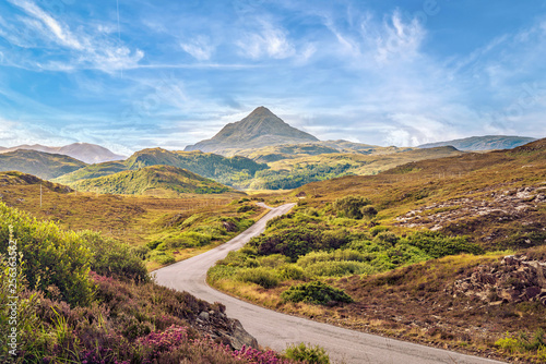 Fotografia  View of Ben Stack mountain peak from West, Scottish Highlands.