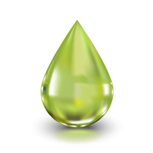 Olive Oil Splash Drop Realistic 3D Illustration For Packaging Design And Advertising. Natural Useful Product.