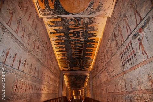 Valley of Kings, Luxor, Egypt, Pharaoh  Tomb, Hieroglyphs, Frescoes Wallpaper Mural