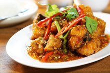 Fried Fish With Sweet Chilli Sauce Served With Steamed Rice, Selective Focus. Still Life Shoot In Studio, Clean Food Good Taste Idea Concept.